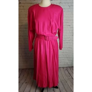 Vintage Rabbit Rabbit Pleated Modest Pink Dress